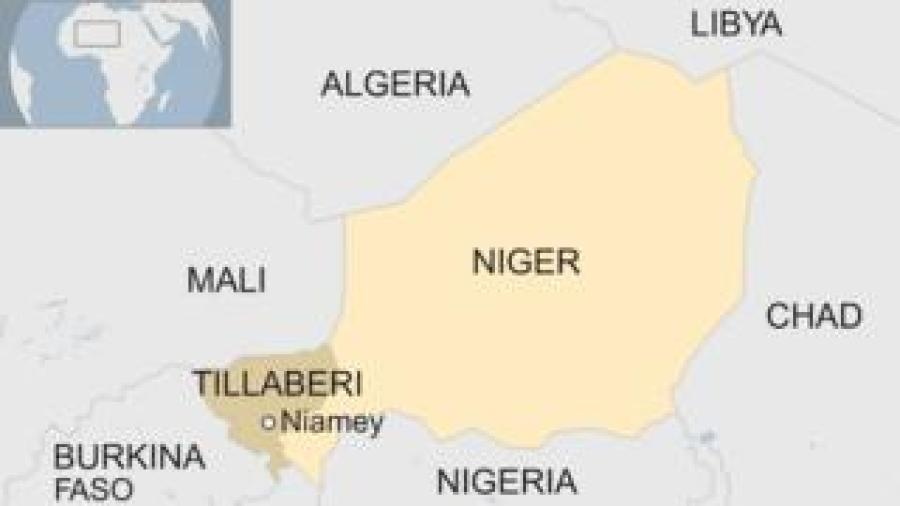 Map of Niger, showing the capital Niamey, the region of Tillaberi and neighbouring countries