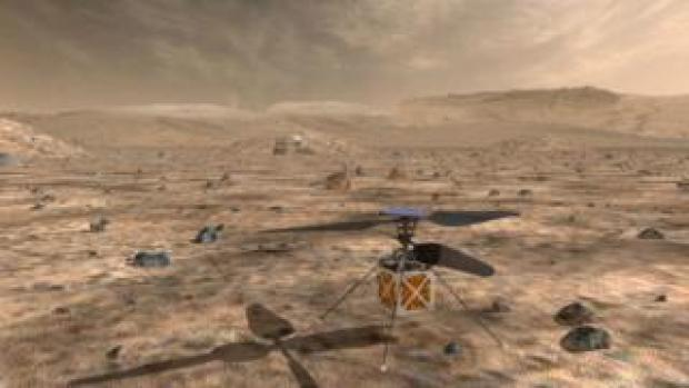 NASA's Mars Helicopter seen in a computer-generated render on the surface of Mars