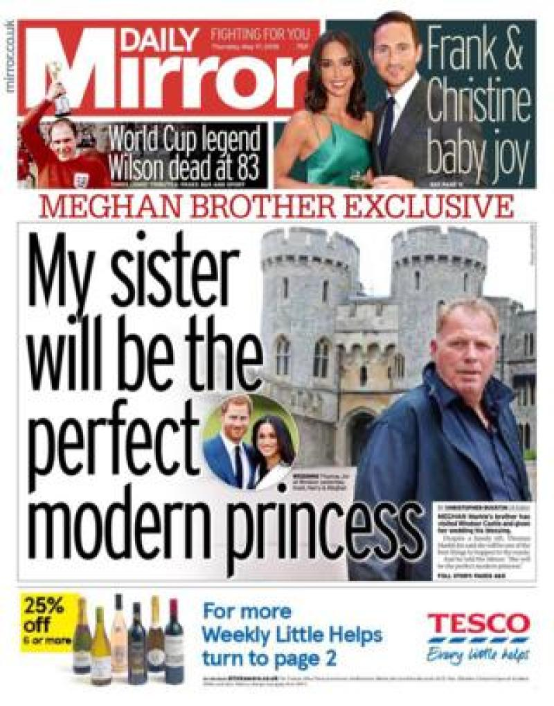 The Mirror front page
