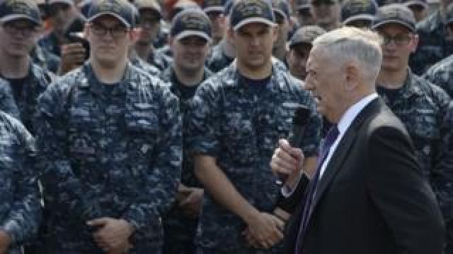 US Secretary of Defense Jim Mattis speaks to military personnel in Ohio (10 Aug 2017)