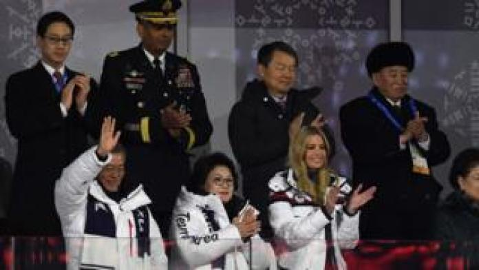 South Korea's President Moon Jae-in (L), his wife Kim Jung-sook (C), US White House adviser Ivanka Trump (C-R), North Korean General Kim Yong Chol (back R), and United States Forces Korea commander General Vincent K. Brooks (back 2ndL) attend the closing ceremony of the Pyeongchang 2018 Winter Olympic Games at the Pyeongchang Stadium on February 25, 2018