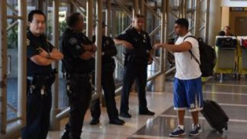 Police at Los Angeles airport, 23 Nov 15