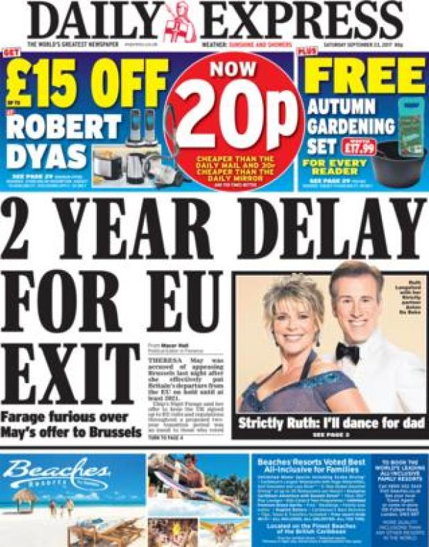 Daily Express front page 23/09/2017