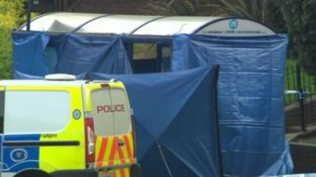 Police cordon and tent in Lower Parade in Sutton Coldfield