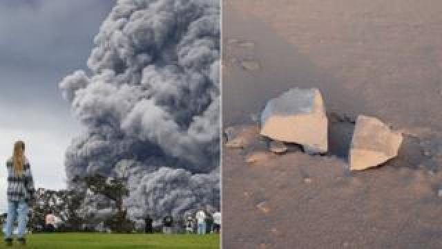 """The ash plume erupting from Hawaii's Mount Kilauea, and some """"ballistic blocks"""" it has spewed"""