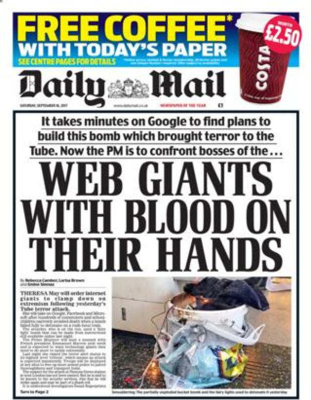Daily Mail front page 16/09/2017