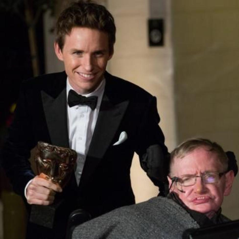 Edie Redmayne and Stephen Hawking