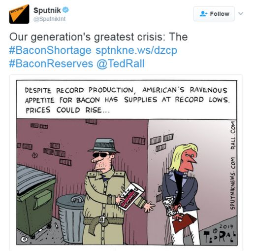 A cartoon on Twitter about the bacon crisis