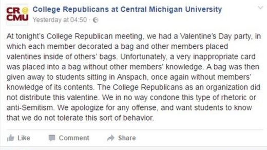 The students' group issued a public apology on Facebook