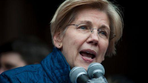 US Senator Elizabeth Warren, D-MA, speaks to people gathered at Copley Square January 29, 2017 in Boston, Massachusetts