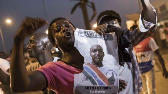 People celebrate the inauguration of Gambia's new president Adama Barrow in Banjul, 19 January 2017