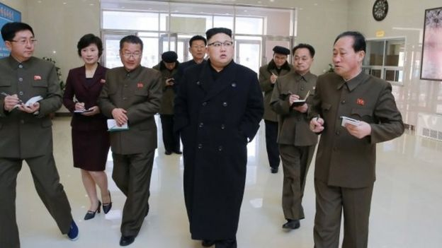 North Korean leader Kim Jong-un and party officials in Pyongyang. File photo