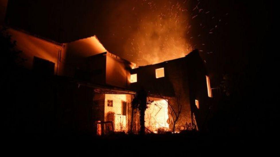 A house on fire near Pedrógão Grande