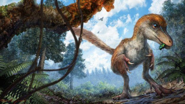 Ilustración del dinosaurio cuya cola fue hallada en ámbar