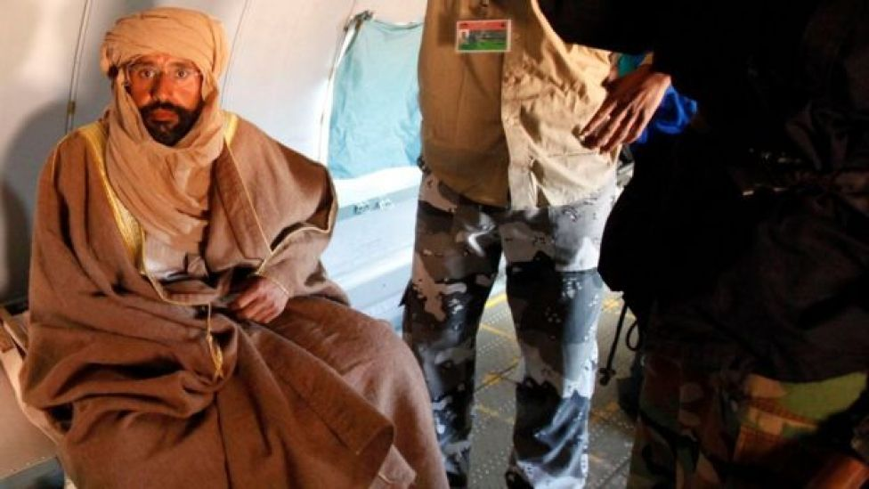 Saif al-Islam Gaddafi is seen sitting in a plane in Zintan November 19, 2011