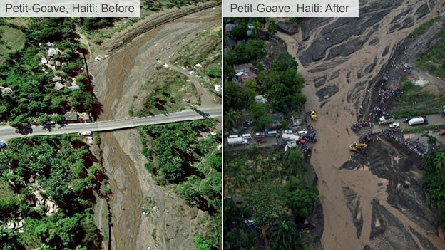 Petit Goave bridge before after it collapsed on Tuesday