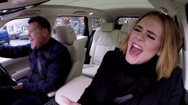Adele with James Corden on Carpool Karaoke