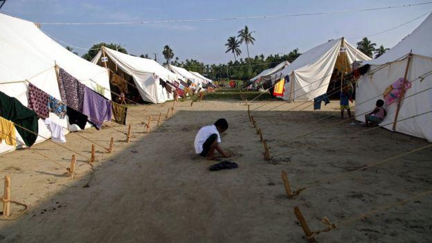 Tents on the DaNyaWaddy's football grounds, in Sittwe, Rakhine State, western Myanmar, 26 October