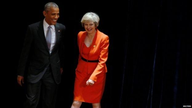Theresa May with US President Barack Obama