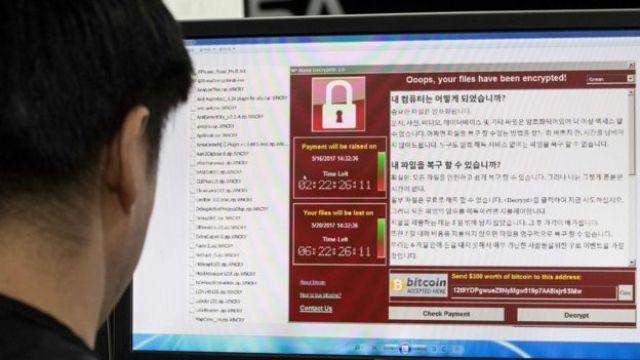 South Korean man monitoring ransomware
