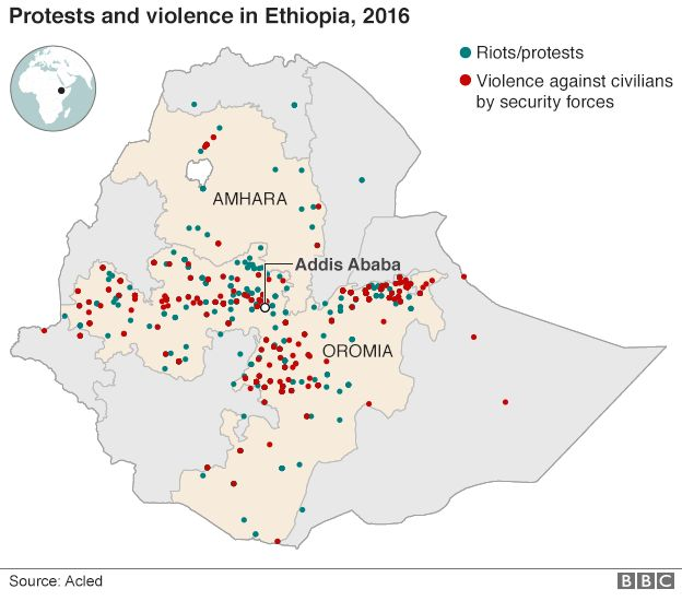 Map of protests and violence in Ethiopia in 2016