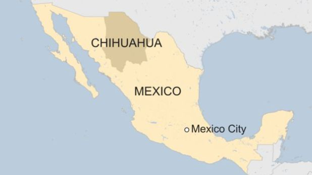 Map of Chihuahua in Mexico