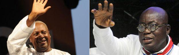 L: John Dramani Mahama, R: Nana Akufo-Addo