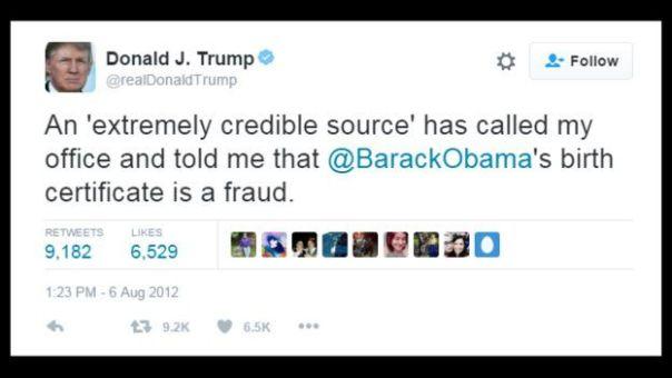 Tuit de Trump en 2012: