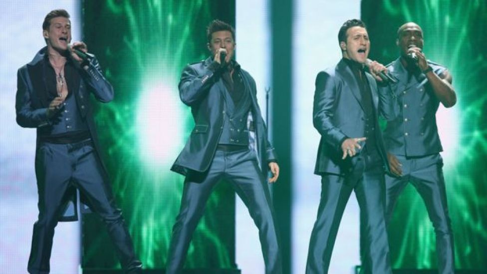 Blue performing at Eurovision