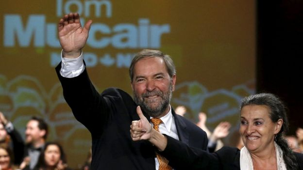 Tom Mulcair and his wife Catherine at campaign event in Montreal, Quebec, Canada, October 18, 2015