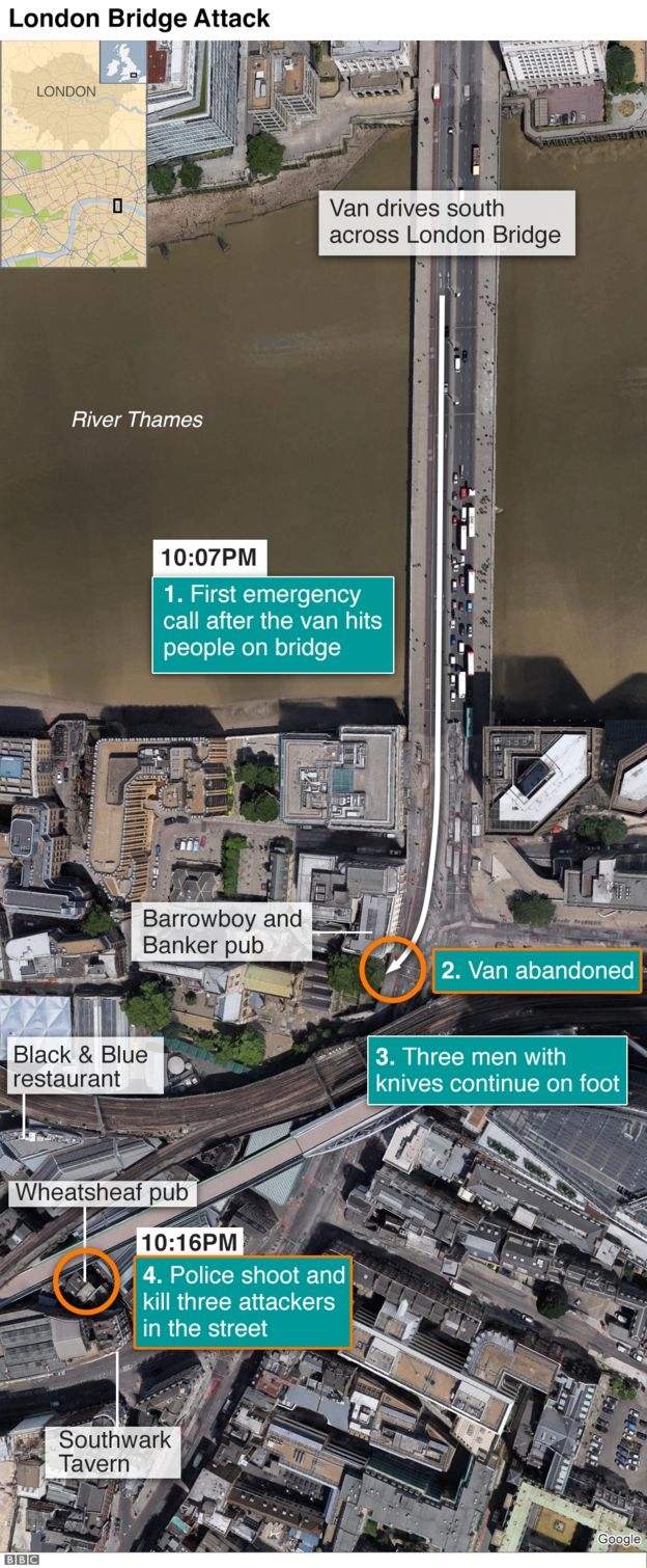 Map showing how the terror attack around London Bridge and Borough unfolded