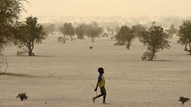 A child walks in a desert area in Mali.