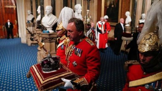 The Imperial State Crown being carried into Parliament