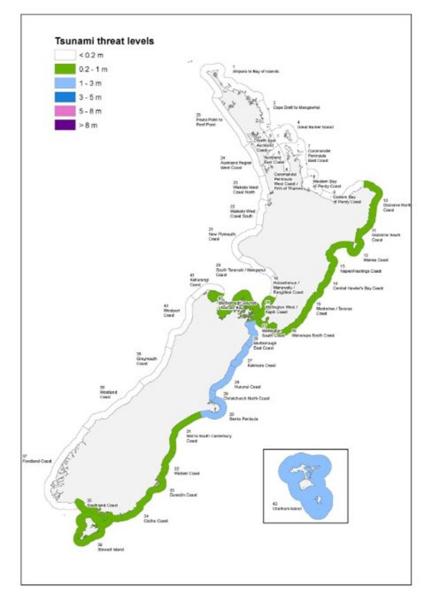 A map showing the strength of waves expected to hit New Zealand's coastline