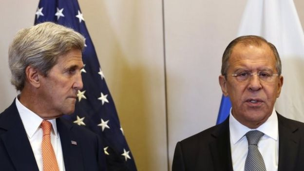 US Secretary of State John Kerry (left) and Russian Foreign Minister Sergei Lavrov in Geneva. Photo: 9 September 2016