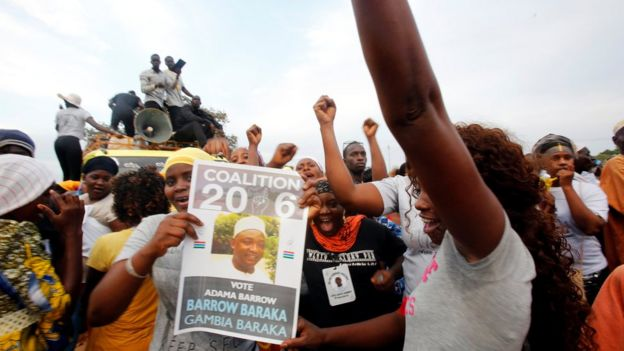 Supporters of the United Democratic Party (UDP) opposition alliance presidential candidate, Adama Barrow in The Gambia - November 2016