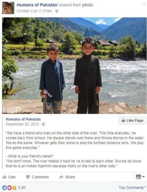 Humans of Pakistan Facebook post