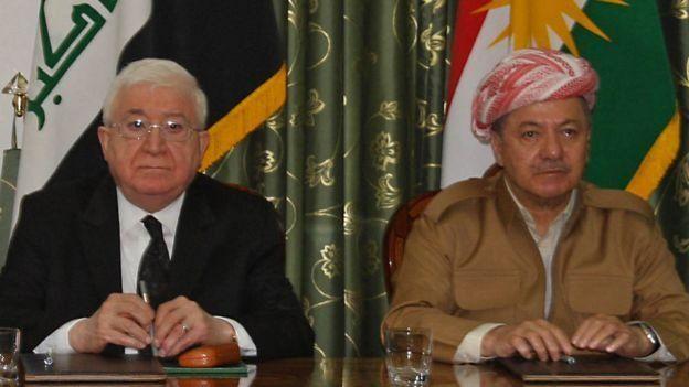 الرئيس العراقي فؤاد معصوم التقى رئيس كردستان العراق مسعود برزاني يوم الأحد