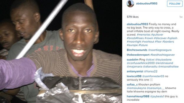 Instagram picture of fake migrant