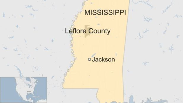 A BBC map showing Leflore County in Mississippi state
