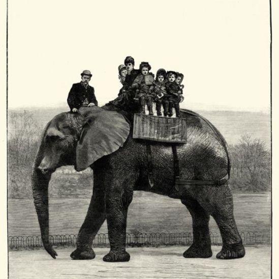 Jumbo carregando crianças