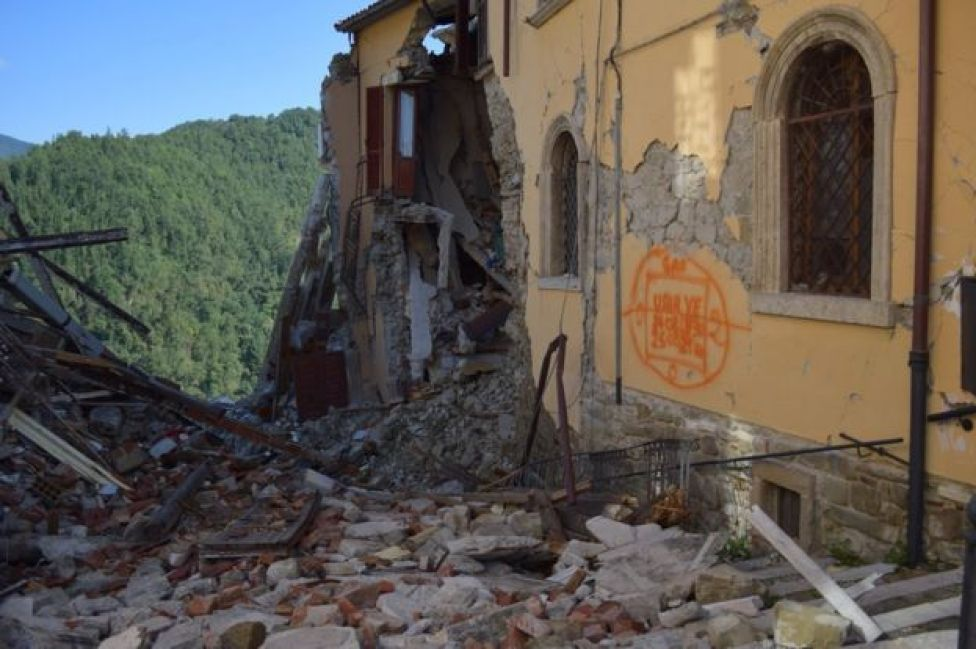 Earthquake damage in Arquata del Tronto, Marche, 27 September 2016
