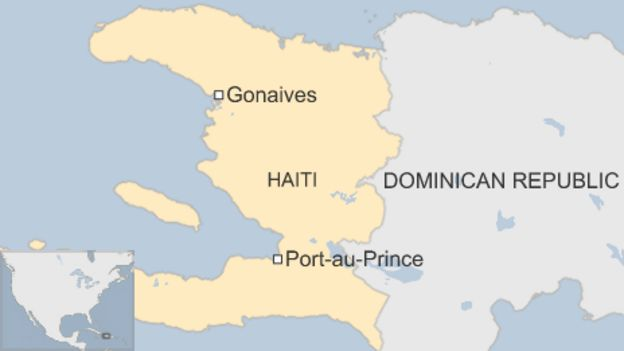 Map shows the location of the Haitian city of Gonaives