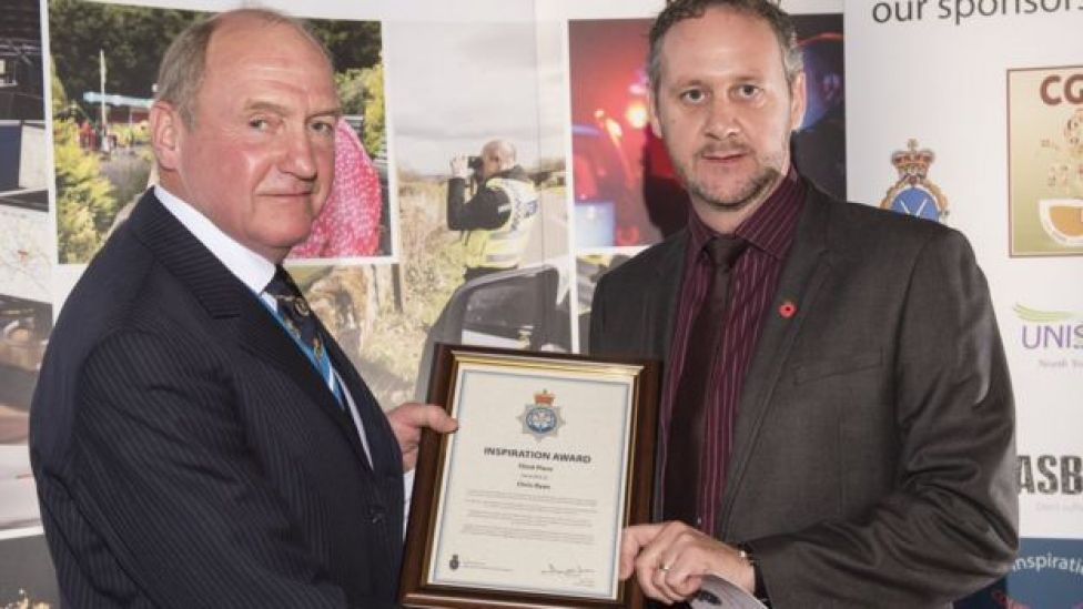 Det Con Chris Ryan (right) won an award from North Yorkshire Police for his detective work in tracking Ashley Fulcher to Costa Rica