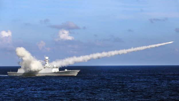 Chinese missile frigate Yuncheng launches an anti-ship missile during a military exercise