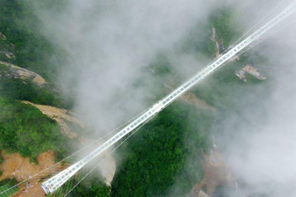 Puente de cristal en Zhangjiajie, en la provincia de Hunan