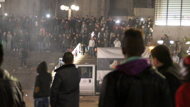 Youths outside Cologne station on New Year's Eve