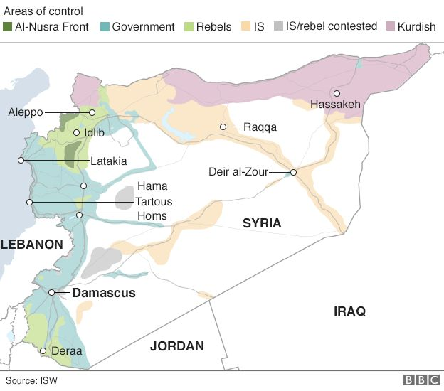 Map showing control of Syria