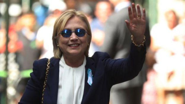 Hillary Clinton en el evento conmemorativo del 11 de septiembre.