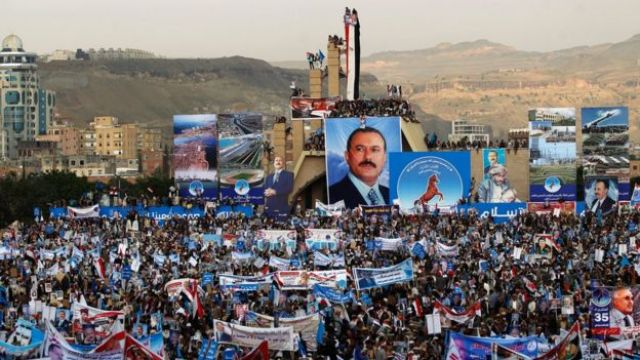 Thousands of Yemenis attend a rally in Sanaa to celebrate the 35th anniversary of the founding of the General People's Congress party on 24 August 2017